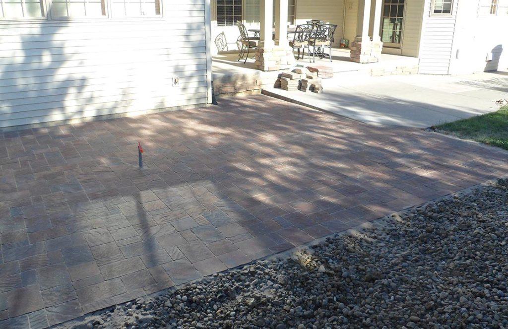 Large natural stone patio hardscape