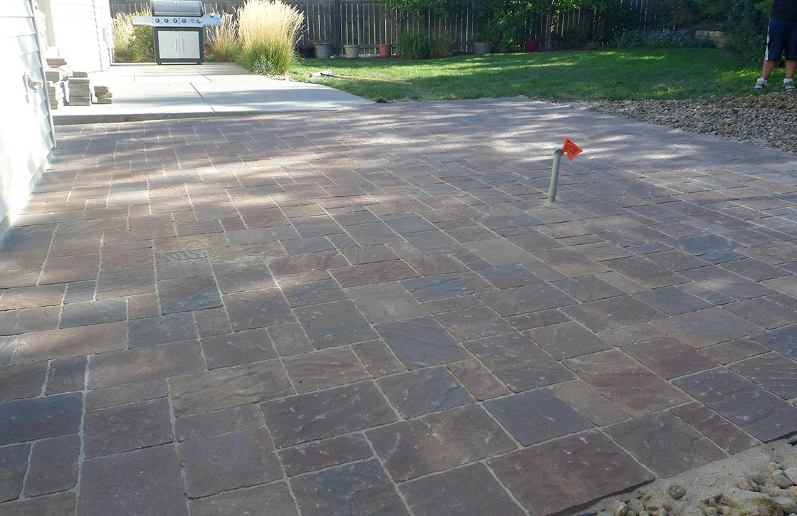 Large natural stone patio hardscape