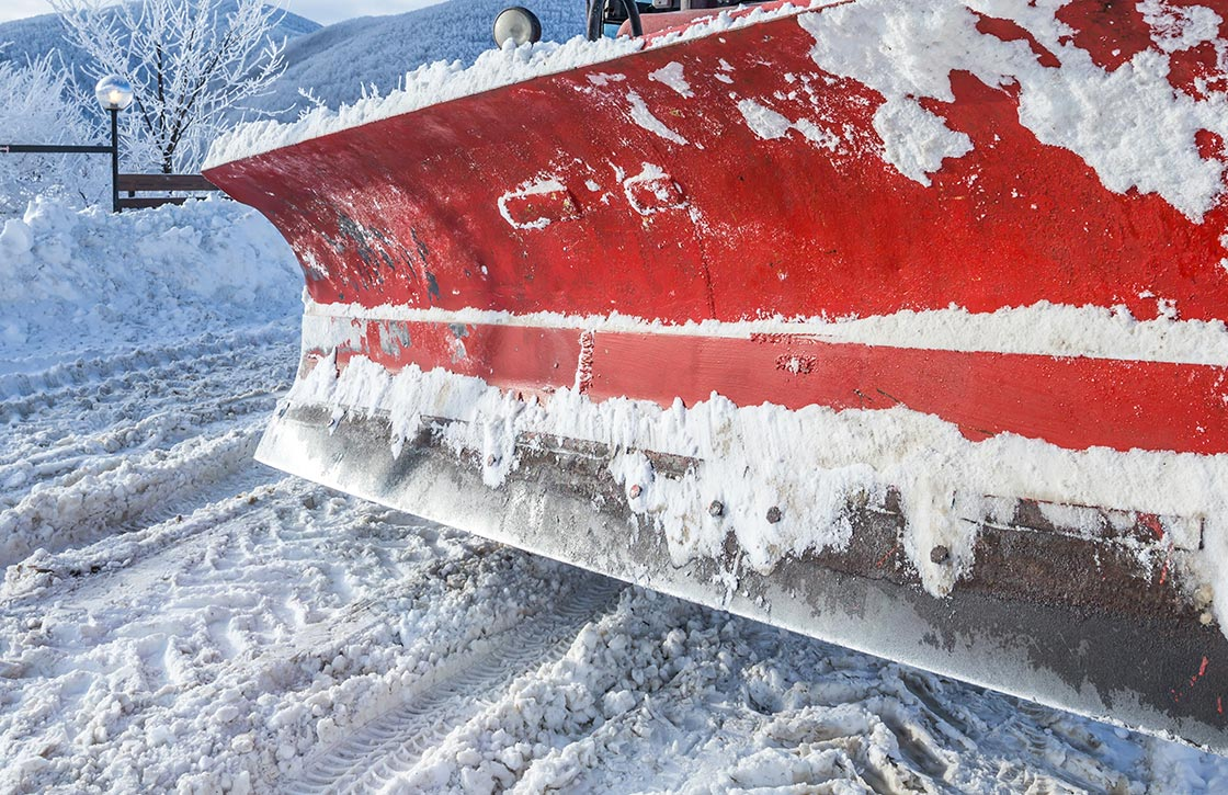 Large, commercial snow plow